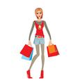 young woman makes shopping vector image