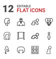12 portrait icons vector image vector image