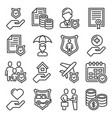 accident insurance icons set on white background vector image vector image