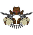 banner with two revolvers hat bullets and roses vector image vector image