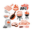 bbq stickers and emblems grills and meat vector image
