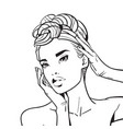 beautiful woman face with elegant hairstyle sketch vector image vector image