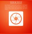 camera shutter icon isolated on orange background vector image vector image