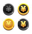 cartoon set golden and black yen coin yuan symbol vector image vector image