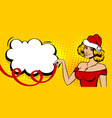 christmas pop art sexy white woman smile vector image vector image