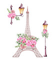 city lamps decorated with rose flower and green vector image vector image
