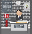 comical customer services desk vector image vector image