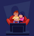 couple sitting at couch watch tv eating popcorn vector image