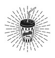 cup soda with rays vector image vector image