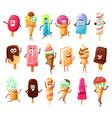 cute ice cream cartoon characters summer dessert vector image