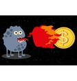 Cute monster with fire and dollar coin vector image vector image