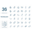 digital technology isometric line icons 3d vector image vector image