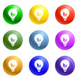 eco bulb icons set vector image