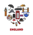 england national symbols in heart shape promo vector image