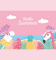 flamingo pineapple cocktail beach sea exotic vector image