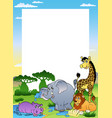 frame with four african animals vector image vector image
