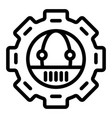 gear with robot line icon mechanical