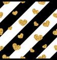 gold heart seamless pattern black-white geometric vector image vector image