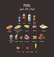 graphical stylized pixel food icon set vector image