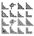 irish celtic corners design set braided vector image vector image