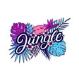 jungle hand written lettering vector image vector image