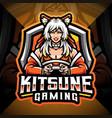 kitsune gaming esport mascot logo design vector image vector image