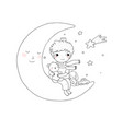 little prince is sitting on moon cute vector image vector image