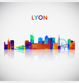 lyon skyline silhouette in colorful geometric vector image vector image