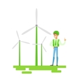 Man In Hard Hat Standing Next To Wind Power vector image vector image