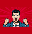 man screaming loudly cartoon in pop art retro vector image