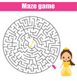 maze game fairy princess theme kids activity vector image vector image