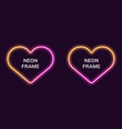 neon frame in heart shape template vector image