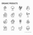 organic products thin line icons set vector image