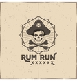 Pirate skull insignia or poster Rum label design vector image