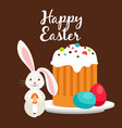 rabbit and easter cake greeting card vector image vector image