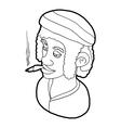 Rastafarian man wearing headband and smoking icon vector image