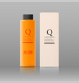 realistic cosmetic orange bottle with black lid vector image