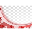 Red wavy abstract background with hearts vector image vector image