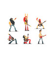 rock musicians singing and playing guitar set vector image vector image