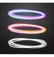 Round neon light trail special effects set vector image vector image