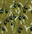 seamless pattern with black olives branches vector image vector image