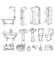 set bathroom objects bathtub shover sink and vector image vector image