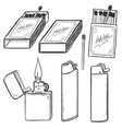 sketch set matches matchboxes and lighters vector image vector image