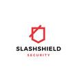 slash shield logo icon vector image vector image