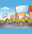 student at physical education class vector image