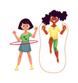 two girls playing with jumping rope and hula hoop vector image vector image