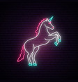 unicorn neon sign magical standing vector image vector image
