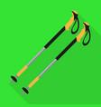 walking nordic sticks icon flat style vector image