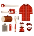 Wood and Tools of Lumberjack in Flat Style vector image vector image