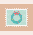 wreath floral celebration happy christmas stamp vector image vector image